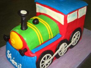 Dětský dort Mašinka barevná