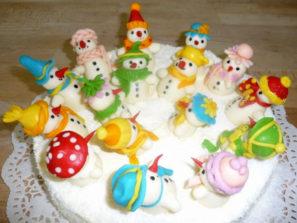 Dětský dort Sněhuláci