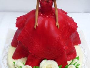 Dětský dort Dívka v červených šatech