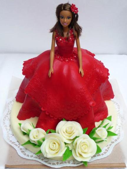 Dětský dort Dívka včervených šatech