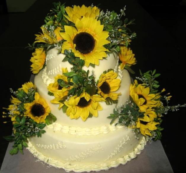 Svatební dort - slunečnice
