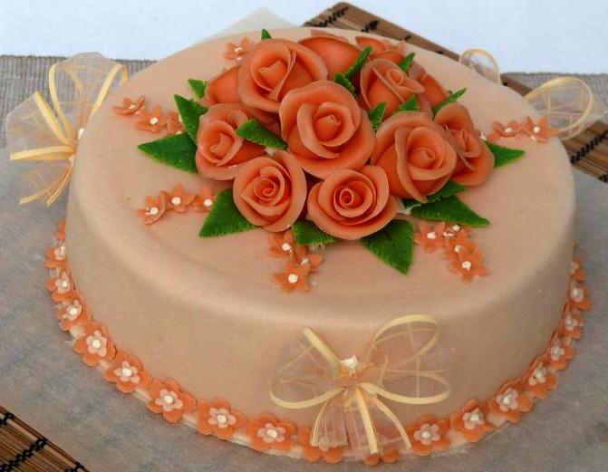 Svatební dort - oranžové růže