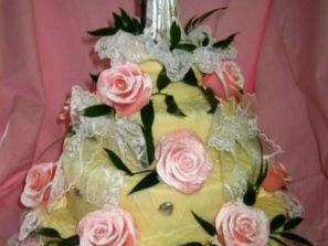 Svatební dort - patra růžové