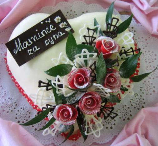 Svatební dort - srdce za syna