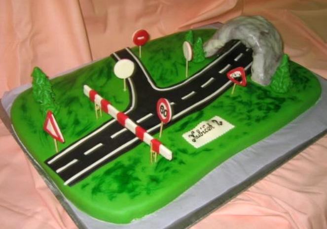 Dětský dort Silnice