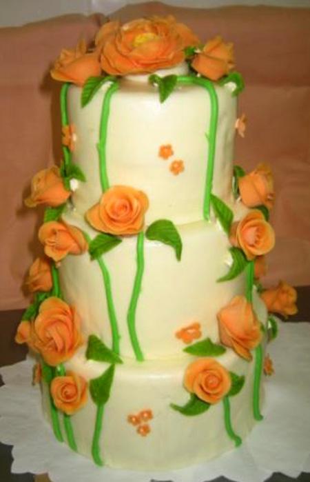 Svatební dort - oranž růže