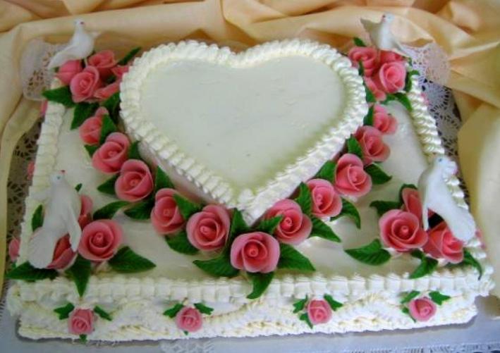 Svatební dort - obdelník bílé srdce